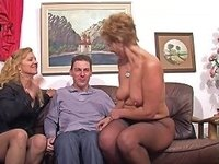 Stocking Clad Granny With Glasses Enjoying A Mind Blowing Threesome