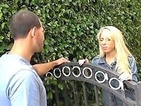 Blonde In Pantyhose Sucks Dick After Meeting Young Guy