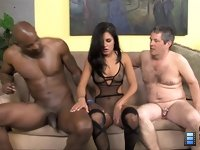 Missy Maze: Wife Missy allows her cuckold to view as she gulps down on her first black dick.